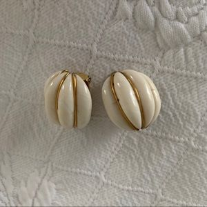 White and gold vintage clip-on earrings